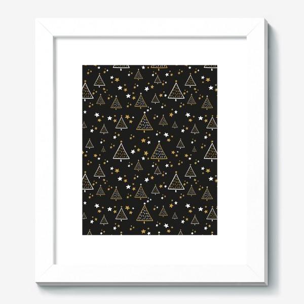 Картина «Новогодний паттерн, елки и звезды на черном фоне»