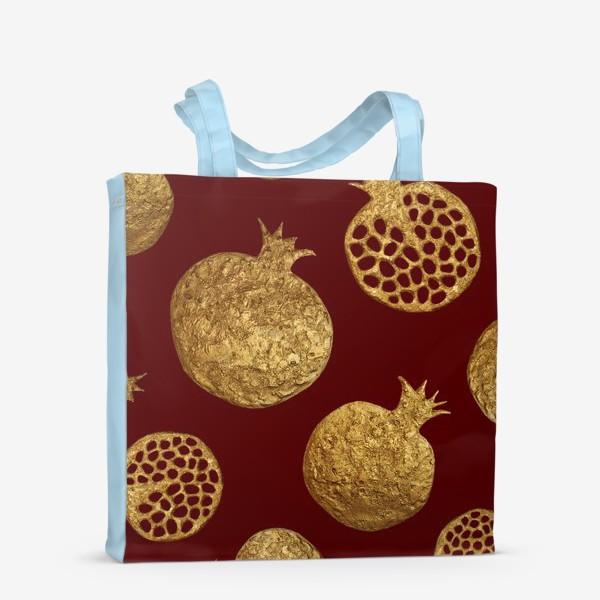Сумка-шоппер «Золотые гранаты на красном»