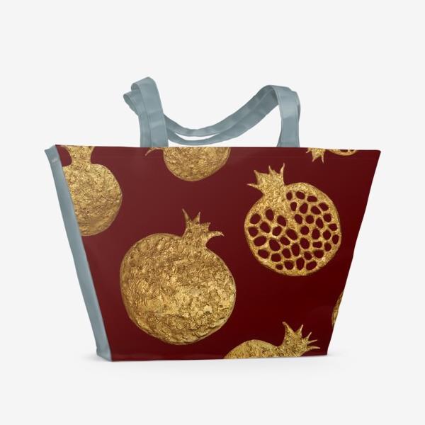 Пляжная сумка «Золотые гранаты на красном»