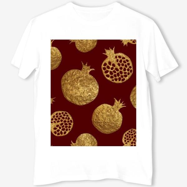 Футболка «Золотые гранаты на красном»