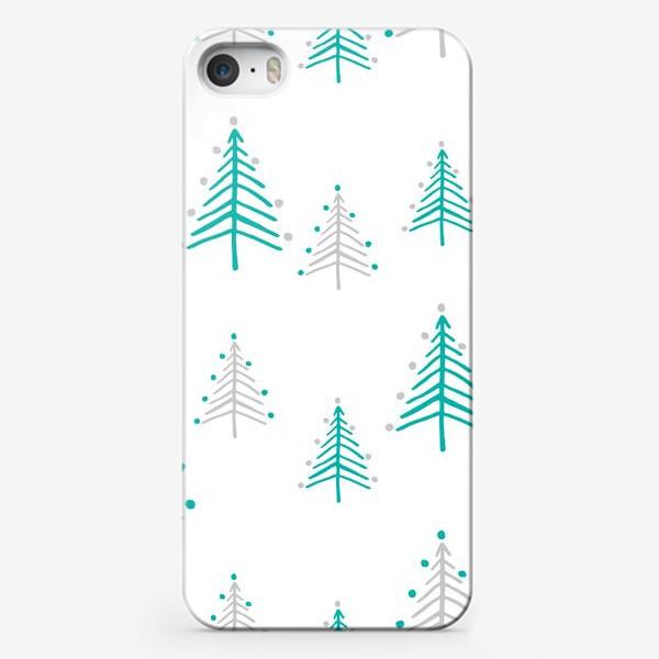 Чехол iPhone «Новогодний паттерн, минималистичные ёлочки»