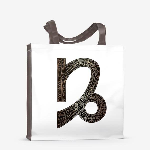 Сумка-шоппер «Знак зодиака КОЗЕРОГ золото на черном»