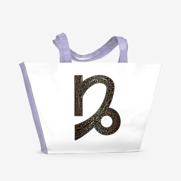 Пляжная сумка «Знак зодиака КОЗЕРОГ золото на черном»