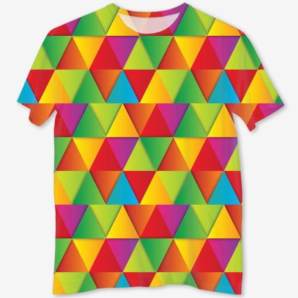Футболка с полной запечаткой «Яркие треугольники»
