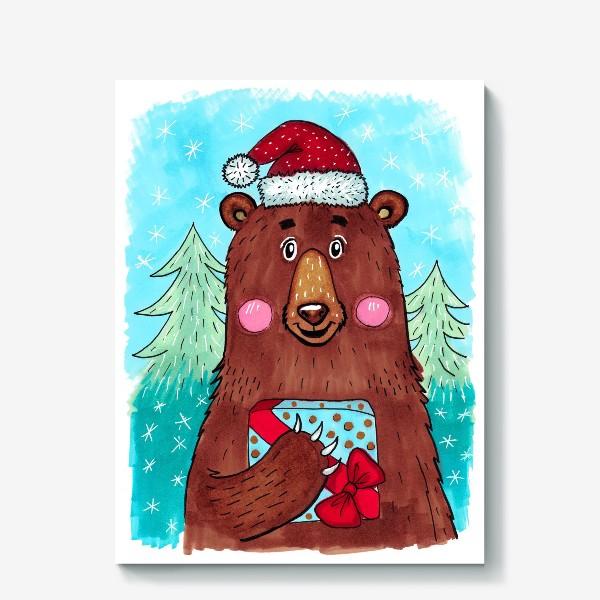 Холст «Милый новогодний мишка с подарком»
