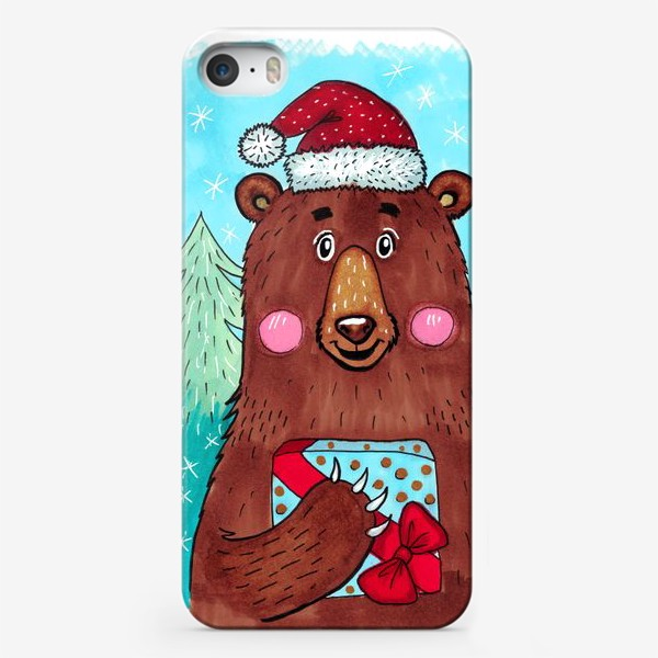 Чехол iPhone «Милый новогодний мишка с подарком»