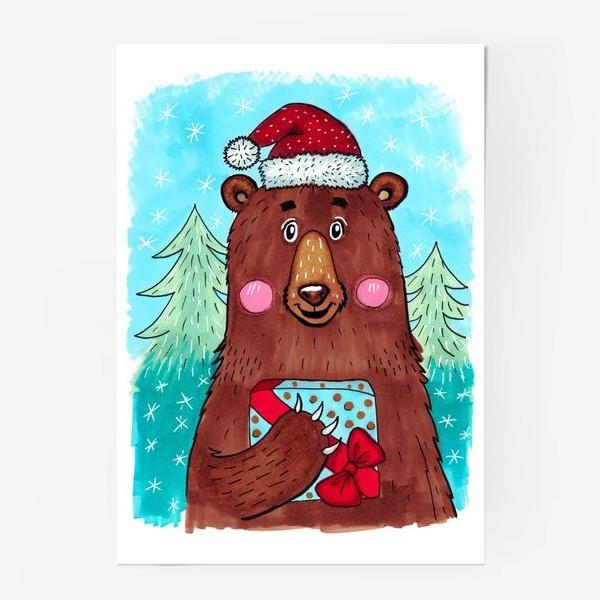 Постер «Милый новогодний мишка с подарком»