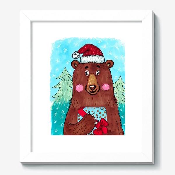 Картина «Милый новогодний мишка с подарком»