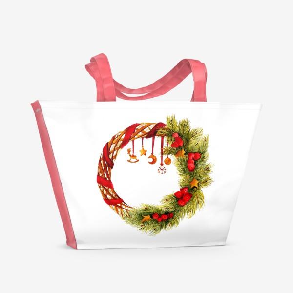 Пляжная сумка «Новогодний венок»