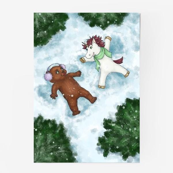 Постер «Единорог и медвежонок делают снежных ангелов»