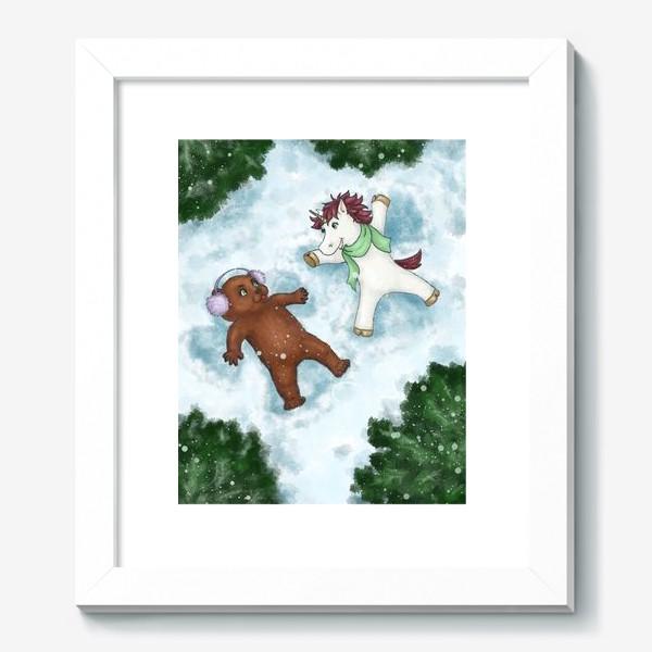 Картина «Единорог и медвежонок делают снежных ангелов»