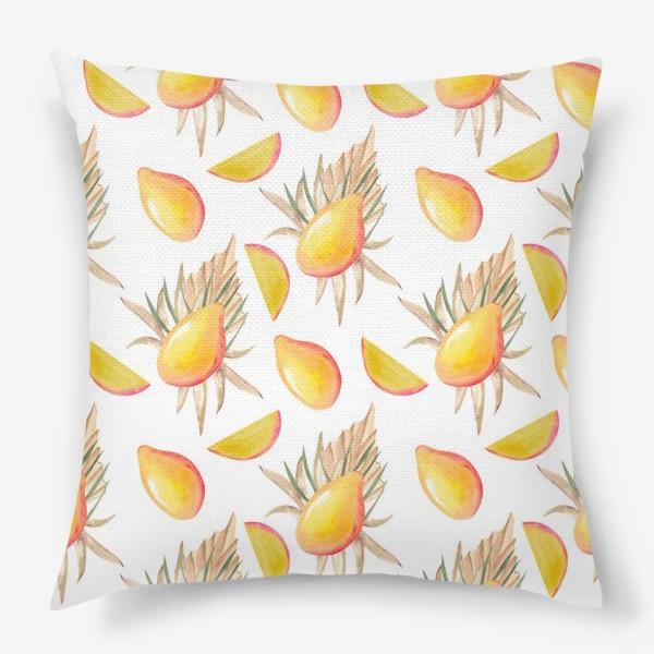 Подушка «Манго и листья. тропический паттерн»