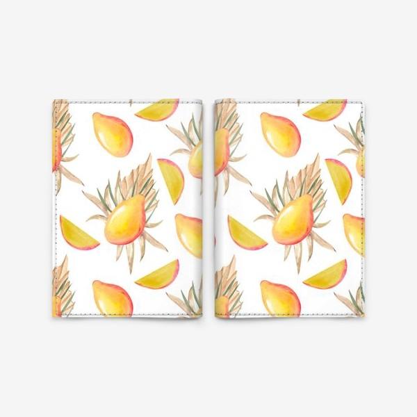 Обложка для паспорта «Манго и листья. тропический паттерн»