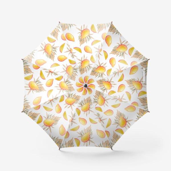 Зонт «Манго и листья. тропический паттерн»