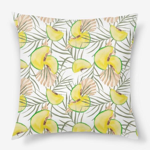Подушка «Дыня и листья. Тропический паттерн»