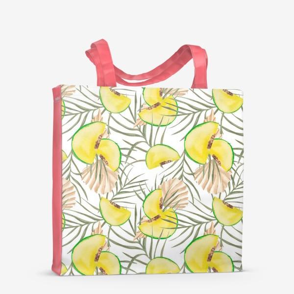 Сумка-шоппер «Дыня и листья. Тропический паттерн»