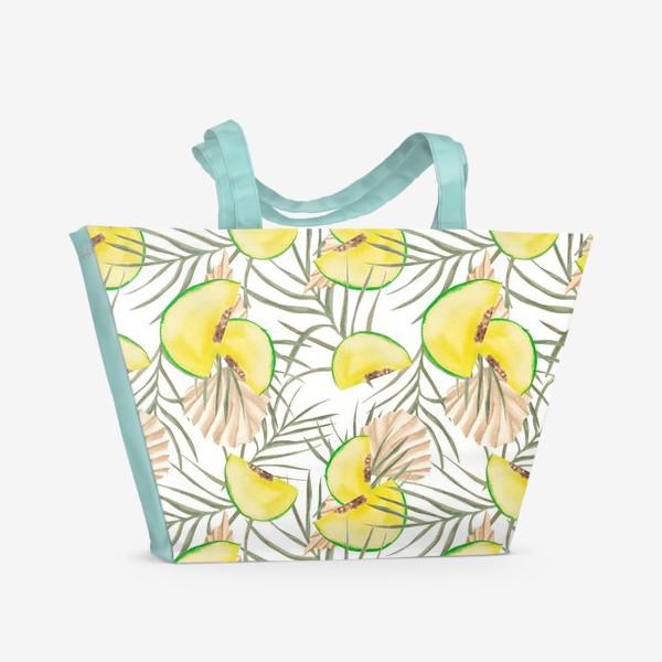 Пляжная сумка «Дыня и листья. Тропический паттерн»
