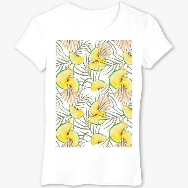 Футболка «Дыня и листья. Тропический паттерн»