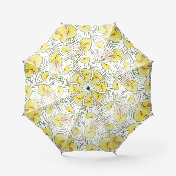 Зонт «Дыня и листья. Тропический паттерн»