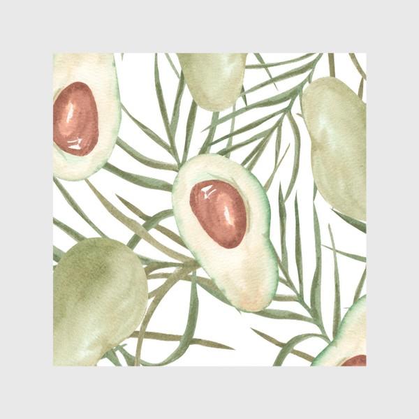 Шторы «Авокадо с листьями пальмы. паттерн»