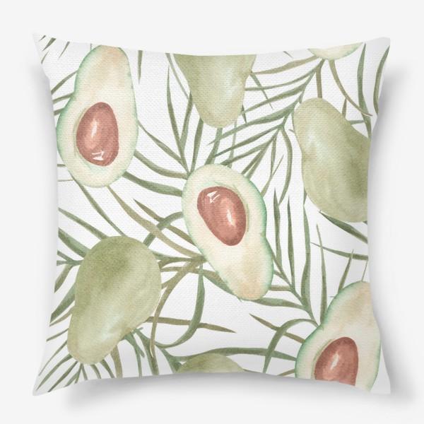 Подушка «Авокадо с листьями пальмы. паттерн»