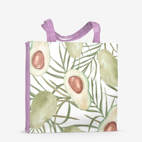 Сумка-шоппер «Авокадо с листьями пальмы. паттерн»