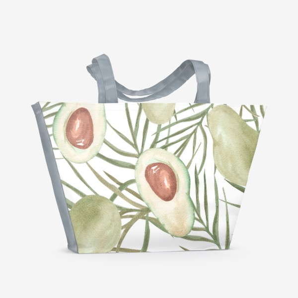 Пляжная сумка «Авокадо с листьями пальмы. паттерн»
