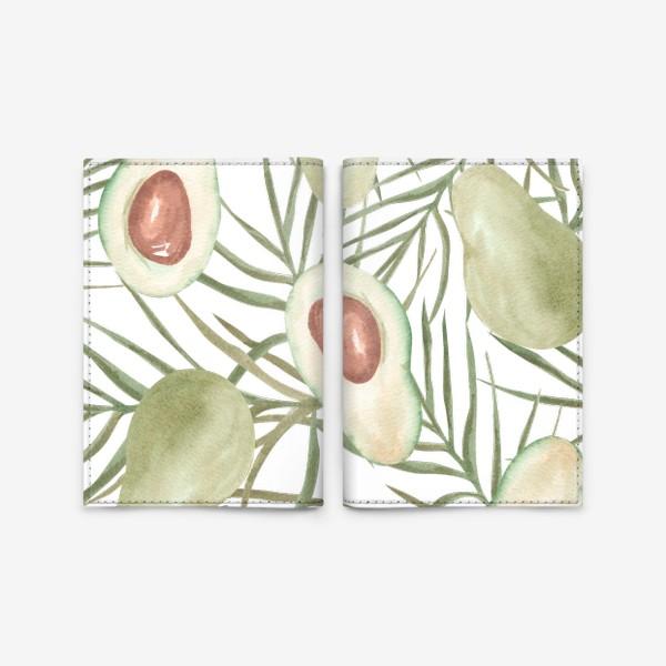 Обложка для паспорта «Авокадо с листьями пальмы. паттерн»