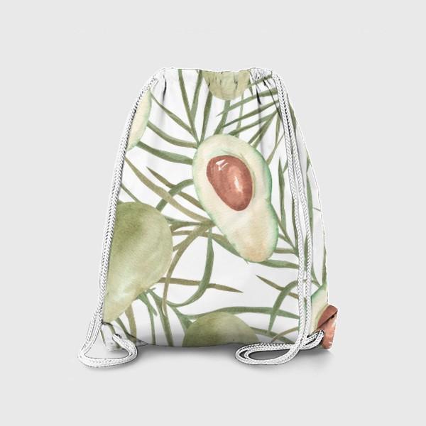Рюкзак «Авокадо с листьями пальмы. паттерн»