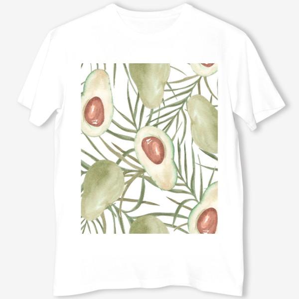Футболка «Авокадо с листьями пальмы. паттерн»