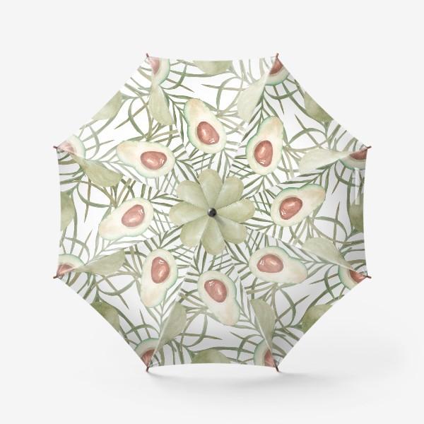 Зонт «Авокадо с листьями пальмы. паттерн»