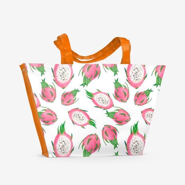 Пляжная сумка «Питахайя. Тропический паттерн»