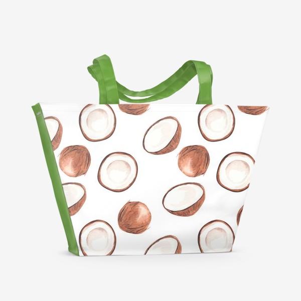 Пляжная сумка «Кокосовый паттерн. Тропический узор»