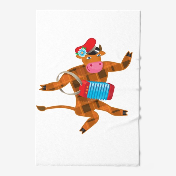 Полотенце «Танцующий Бык и гармошка. Год Быка 2021»