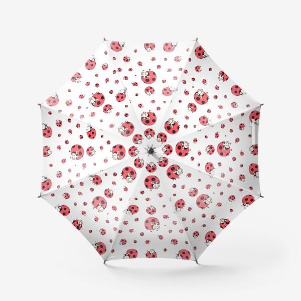 Зонт «Божьи коровки и бычки (белый)»
