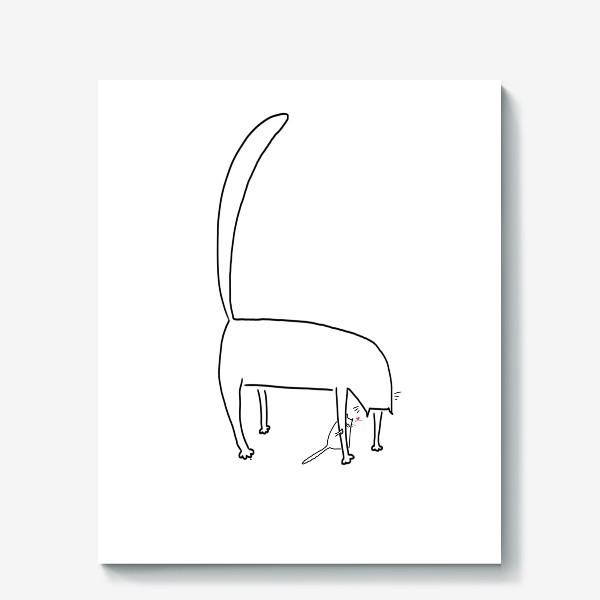 Холст «Кошка и котенок за ее лапкой »