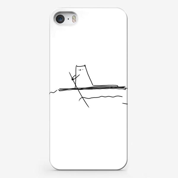 Чехол iPhone «Кот на маленьком плоту »