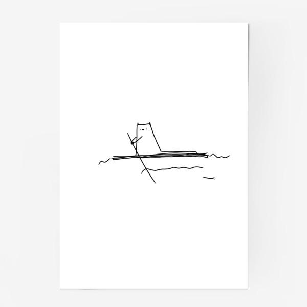 Постер «Кот на маленьком плоту »