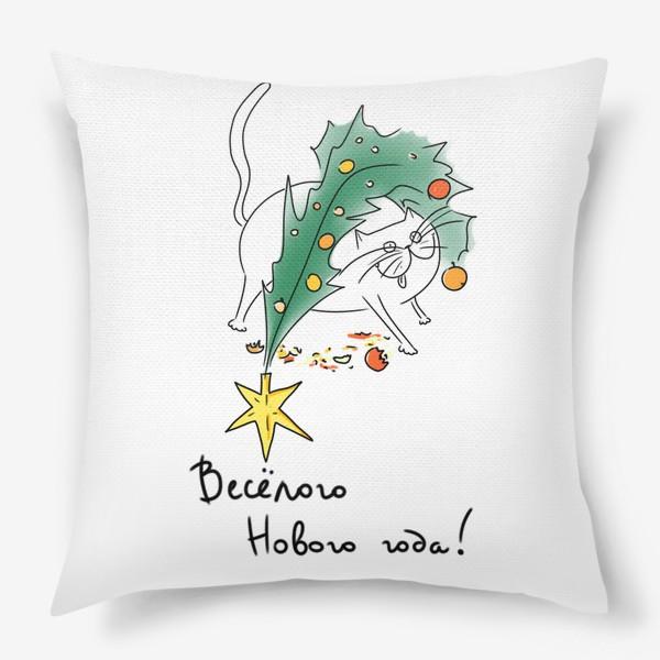 Подушка «Веселый Новый год! Новогодний кот с елкой »