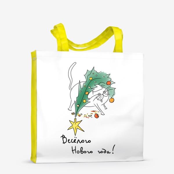 Сумка-шоппер «Веселый Новый год! Новогодний кот с елкой »