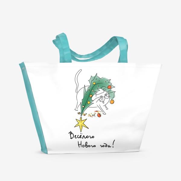 Пляжная сумка «Веселый Новый год! Новогодний кот с елкой »