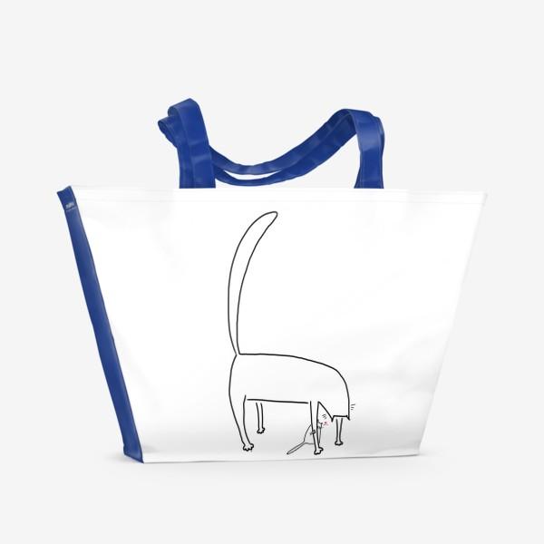 Пляжная сумка «Кошка и котенок за ее лапкой »