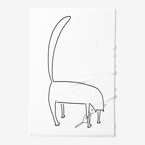 Полотенце «Кошка и котенок за ее лапкой »