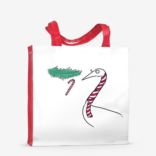 Сумка-шоппер «Птица и новогодняя карамелька. Новый год. Рождество »