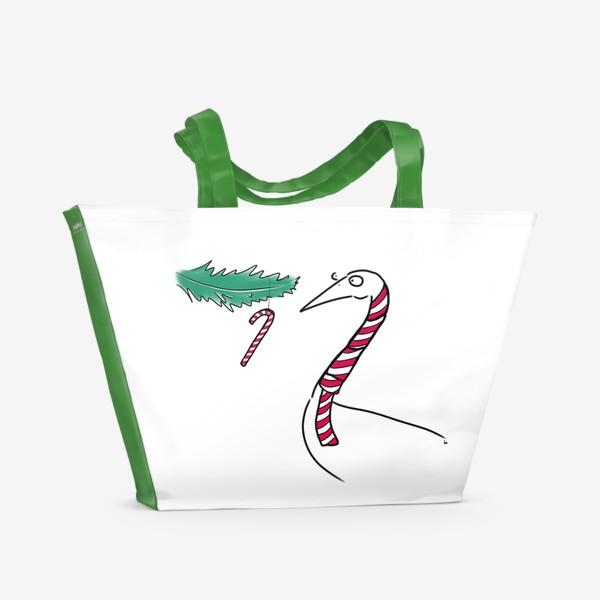 Пляжная сумка «Птица и новогодняя карамелька. Новый год. Рождество »