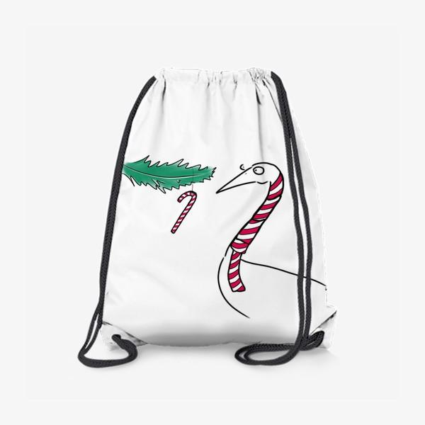 Рюкзак «Птица и новогодняя карамелька. Новый год. Рождество »