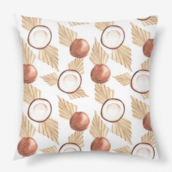 Подушка «Коккос и пальма. Тропический паттерн»