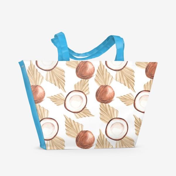 Пляжная сумка «Коккос и пальма. Тропический паттерн»