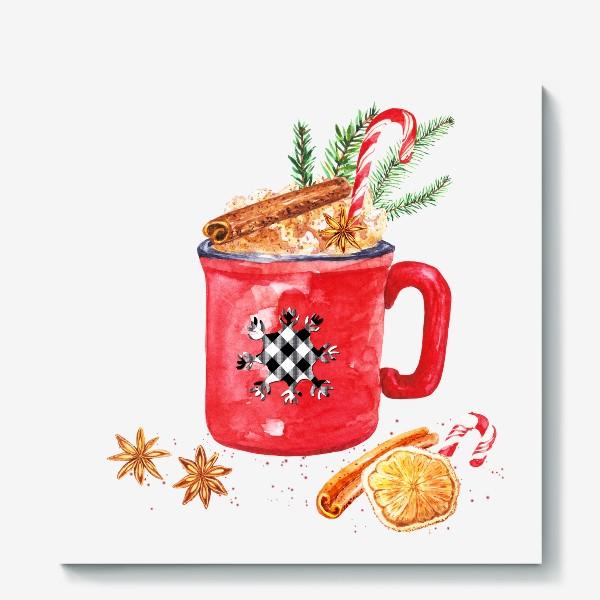 Холст «Рождественская кружка горячего шоколада»