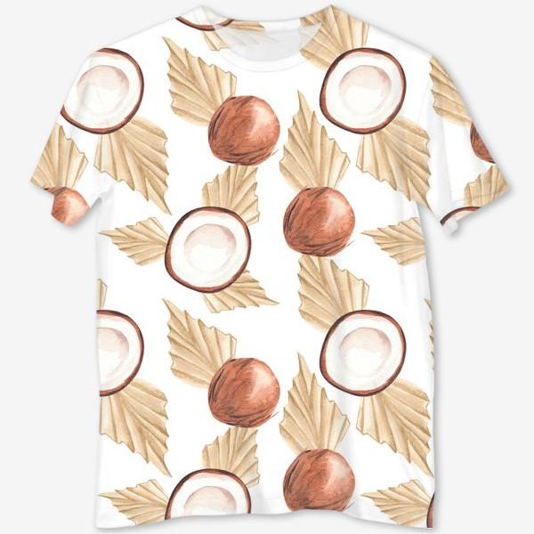 Футболка с полной запечаткой «Коккос и пальма. Тропический паттерн»